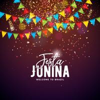 Ilustração de Festa Junina com bandeiras do partido e letra da tipografia no fundo dos confetes. Vector Brazil June Festival Design