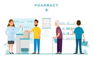 farmácia com farmacêutico e cliente no balcão vetor