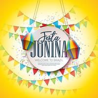 Projeto do festival de Festa Junina com bandeiras do partido e lanterna de papel no fundo colorido dos confetes. Vector tradicional Brasil junho celebração ilustração