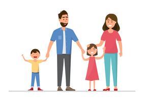 Família feliz. Pai, mãe, bebê, filho e filha. vetor