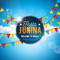 Ilustração de Festa Junina com bandeiras do partido e letra da tipografia no fundo azul do céu nebuloso. Vector Brazil June Festival Design