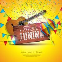 Ilustração de Festa Junina com guitarra acústica, bandeiras do partido e lanterna de papel no fundo amarelo. Tipografia na mesa de madeira Vintage. Vector Brazil June Festival Design