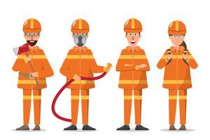 Bombeiro ou bombeiro e mulher de uniforme vetor