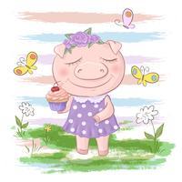 Flores e borboletas bonitos do porco do cartão. Estilo dos desenhos animados