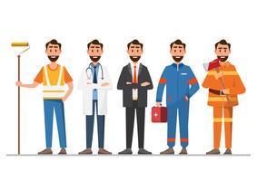 Um, grupo pessoas, de, diferente, profissões vetor