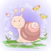 Ilustração de flores e de borboletas bonitos de caracol dos desenhos animados. Vetor