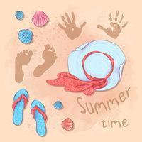 Festa do verão da praia da cópia do cartão com um chapéu e ardósias na areia pelo mar. Estilo de desenho de mão.