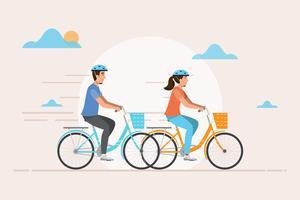 homem e mulher andar de bicicleta. Ilustração vetorial