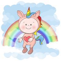 Impressão de cartão postal com um bebê fofo em um traje de unicórnio. Estilo dos desenhos animados.