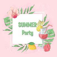 Gelado do cocktail do cartaz e frutas tropicais. Ilustração vetorial