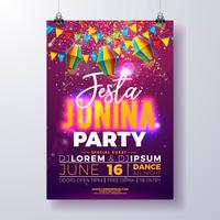 Projeto do insecto do partido de Festa Junina com bandeiras, lanterna de papel e projeto da tipografia no fundo roxo brilhante. Vector tradicional Brasil junho Festival ilustração