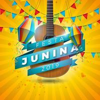 Ilustração de Festa Junina com guitarra acústica, bandeiras do partido e lanterna de papel no fundo amarelo. Vector Brazil June Festival Design