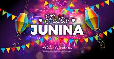 Ilustração de Festa Junina com bandeiras e lanterna de papel no fundo do fogo de artifício. Vector Brazil June Festival Design