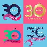 conjunto de sinal de aniversário 30 e símbolo de celebração do logotipo vetor
