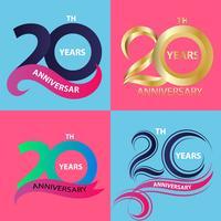 conjunto de sinal de aniversário 20 e símbolo de celebração do logotipo vetor