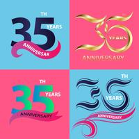 conjunto de sinal de 35º aniversário e símbolo de celebração do logotipo vetor