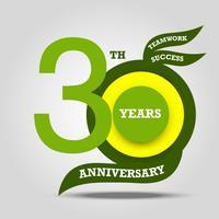 Sinal de 30º aniversário e celebração do logotipo vetor