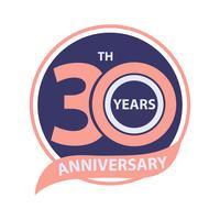 30º aniversário sinal e logotipo celebração vetor