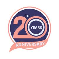 Celebração do sinal e do logotipo do 20o aniversário vetor