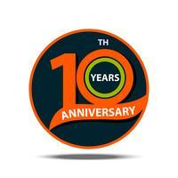10º aniversário sinal e logotipo comemoração vetor