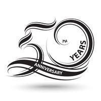 sinal de 50º aniversário preto e logotipo para símbolo de celebração vetor