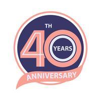 40 sinal de aniversário e celebração do logotipo vetor