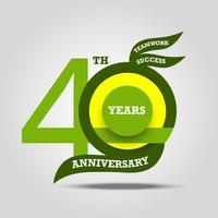Sinal de aniversário 40 e celebração do logotipo vetor