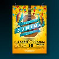Ilustração do inseto do partido de Festa Junina com projeto da tipografia e guitarra acústica. Bandeiras e lanterna de papel no fundo amarelo. Vector Brazil June Festival Design