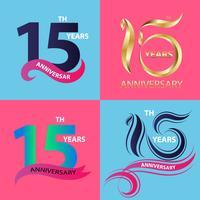 conjunto de sinal de aniversário 15 e símbolo de celebração do logotipo vetor
