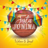Ilustração de Festa Junina com bandeiras do partido e lanterna de papel no fundo amarelo. Vector Brazil June Festival Design