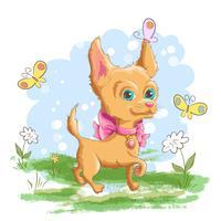 Ilustração de um cão pequeno bonito com flores e borboletas. Imprimir para roupas ou quarto de crianças