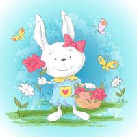 Coelho bonito dos desenhos animados do cartão da ilustração com flores e borboletas. Imprimir para roupas ou quarto de crianças.