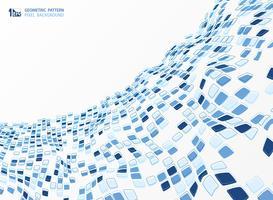 Teste padrão azul abstrato do quadrado da cor de tom do projeto geométrico do fundo. ilustração vetorial eps10
