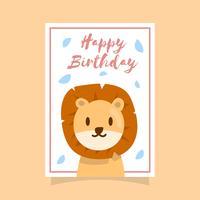 Cartão do feliz aniversario do leão vetor