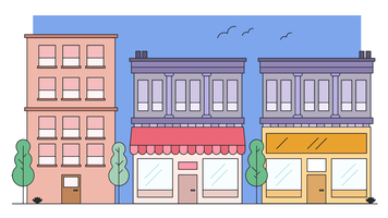 Edifício de loja de bairro vetor