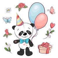 Conjunto de pequeno panda e flores. Desenho à mão. Ilustração vetorial