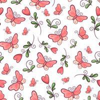 Padrão sem emenda borboletas e flores. Desenho à mão. Ilustração vetorial vetor