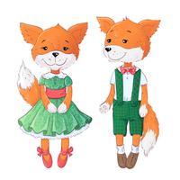 Conjunto de raposa e raposa. Mão, desenho, vetorial, ilustração vetor