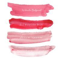 Grupo de fundo vermelho da aquarela, logotipo do curso da escova, ilustração do vetor.