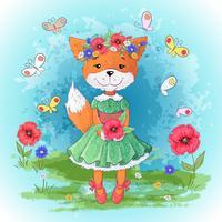 Conjunto de flores de raposa. Mão, desenho, vetorial, ilustração vetor