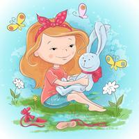 Menina de cartão postal com uma lebre de brinquedo e borboletas. Mão, desenho, vetorial, ilustração vetor