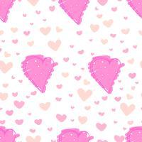 Fundo abstrato do teste padrão do coração, teste padrão do estilo da garatuja do amor, ilustração do vetor.
