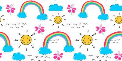 Fundo do teste padrão do verão com nuvens e sol, teste padrão tropical tirado mão, ilustração do vetor.
