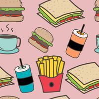 Fundo tirado mão do fast food e dos hamburgueres do teste padrão. Ilustração vetorial.