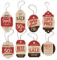 Coleção de vetores de design de estilo retrô de papel preço tag vintage