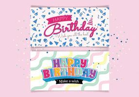Tipografia de feliz aniversário no vetor de cartão