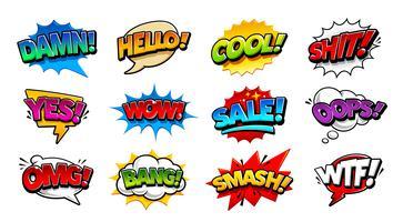 Bolhas do discurso em quadrinhos Pop Art Vector Set