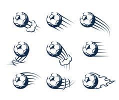 Conjunto de bolas de futebol em movimento de vetor