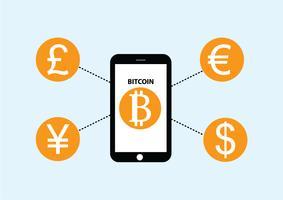 vetor de troca de moeda de dinheiro com bitcoin