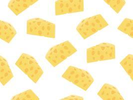 Padrão sem emenda de fatia de queijo em um fundo branco vetor